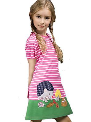 cheap Girls' Dresses-Kids Girls' Cute Street chic Geometric Print Short Sleeve Knee-length Dress Red