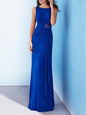 cheap Evening Dresses-Sheath / Column Elegant Blue Wedding Guest Formal Evening Dress Jewel Neck Sleeveless Floor Length Polyester with Beading Draping 2020