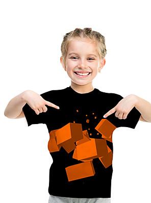 cheap Girls' Dresses-Kids Toddler Girls' Active Basic Rubik's Cube Geometric Color Block Print Short Sleeve Tee Black