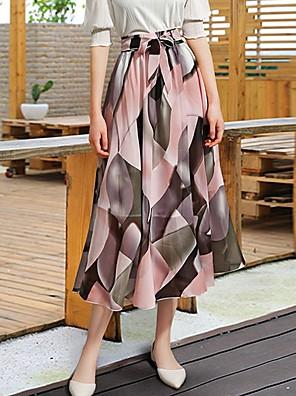 cheap Women's Skirts-Women's A Line Skirts - Geometric Black Blushing Pink One-Size