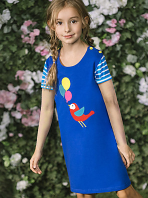 cheap Girls' Dresses-Kids Girls' Cute Street chic Geometric Print Short Sleeve Knee-length Dress Blue