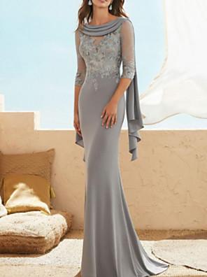 Χαμηλού Κόστους Φορέματα για τη Μητέρα της Νύφης-Ίσια Γραμμή Φόρεμα Μητέρας της Νύφης Κομψό Με Κόσμημα Μακρύ Σιφόν Δαντέλα Μισό μανίκι με Διακοσμητικά Επιράμματα Πλισέ 2020
