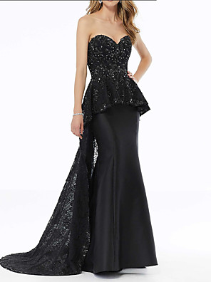 cheap Evening Dresses-Mermaid / Trumpet Peplum Black Party Wear Formal Evening Dress Sweetheart Neckline Sleeveless Sweep / Brush Train Satin with Sequin Overskirt Appliques 2020