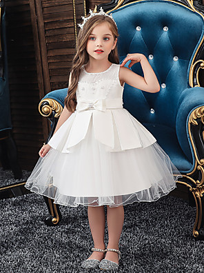 cheap Christening Gowns-A-Line Knee Length Wedding / Party Communion Dresses - Tulle / Matte Satin / Poly&Cotton Blend Sleeveless Jewel Neck with Lace / Bow(s) / Beading