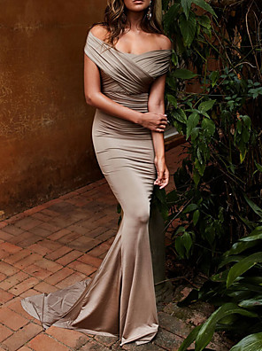 cheap Cocktail Dresses-Mermaid / Trumpet Elegant Sexy Engagement Formal Evening Dress Off Shoulder Short Sleeve Sweep / Brush Train Satin with Ruched Draping 2020