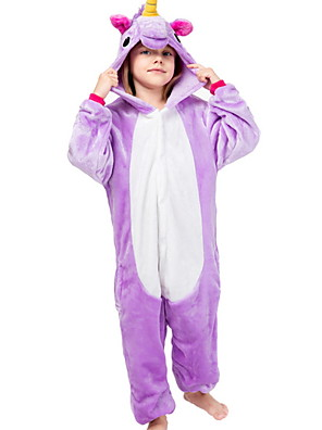 cheap Girls' Dresses-Kid's Kigurumi Pajamas Unicorn Flying Horse Pony Animal Boys and Girls Festival Holiday Costumes Flannel Sleepwear White+Purple