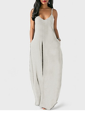 cheap Women's Dresses-Women's Maxi Tunic Dress - Sleeveless Solid Color Spring & Summer Strap Casual Beach 2020 Wine Black Blue Yellow Orange Gray S M L XL XXL XXXL XXXXL XXXXXL