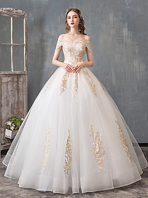 cheap Wedding Dresses-Ball Gown Wedding Dresses Off Shoulder Floor Length Lace Tulle Polyester Cap Sleeve Romantic Sexy with Lace Beading 2020