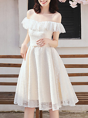 cheap Wedding Dresses-A-Line Off Shoulder Knee Length Chiffon Bridesmaid Dress with Tier