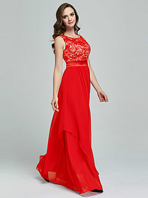 cheap Evening Dresses-Sheath / Column Hot Red Prom Formal Evening Dress Jewel Neck Sleeveless Floor Length Chiffon Lace with Pleats Appliques 2020