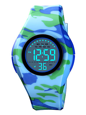 cheap Kids' Watches-SKMEI Kids Digital Watch Quartz Modern Style Sporty Fashion Alarm Silicone Black / Blue / Pink Digital - Blue Red Blushing Pink One Year Battery Life / Calendar / date / day / Chronograph / Stopwatch