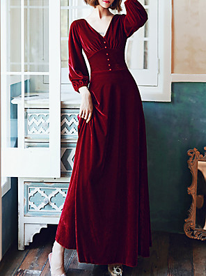 cheap Prom Dresses-A-Line Minimalist Red Prom Formal Evening Dress V Neck 3/4 Length Sleeve Floor Length Velvet with Buttons 2020