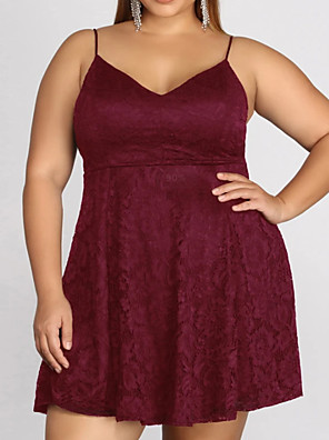 cheap Prom Dresses-A-Line Plus Size Homecoming Cocktail Party Dress V Neck Sleeveless Short / Mini Polyester with Pleats 2020