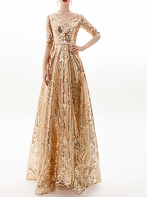 cheap Prom Dresses-A-Line Sparkle Gold Prom Formal Evening Dress V Neck Half Sleeve Floor Length Polyester with Sequin Appliques 2020