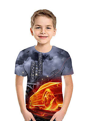 cheap Boys' Tops-Kids Boys' Active Street chic Geometric 3D Patchwork Print Short Sleeve Tee Dark Gray