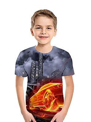cheap Quartz Watches-Kids Boys' Active Street chic Geometric 3D Patchwork Print Short Sleeve Tee Dark Gray