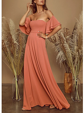 cheap Prom Dresses-A-Line Elegant Empire Holiday Prom Dress Off Shoulder Short Sleeve Floor Length Spandex with Pleats 2020