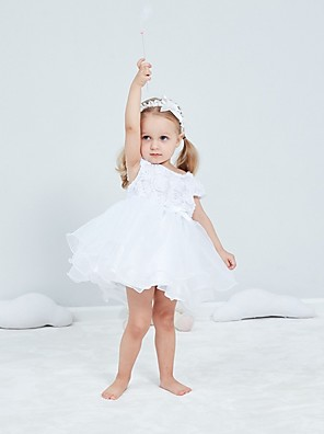 cheap Christening Gowns-Ball Gown Short / Mini First Communion Christening Gowns - Polyester Short Sleeve Jewel Neck with Bow(s) / Appliques