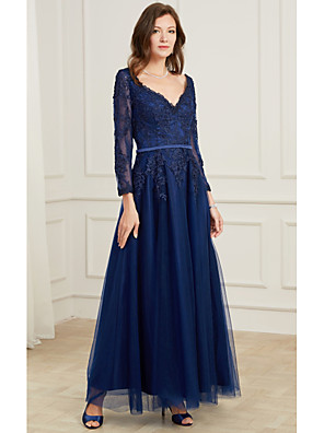 cheap Wedding Dresses-A-Line Elegant Blue Wedding Guest Formal Evening Dress V Neck Long Sleeve Floor Length Tulle Polyester with Appliques 2020