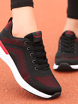 cheap Women's Skirts-Women's Athletic Shoes Flat Heel Round Toe Elastic Fabric / Tissage Volant Casual / Minimalism Running Shoes / Walking Shoes Spring & Summer / Fall & Winter Black / White / Black / Red / Pink