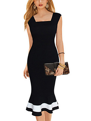 cheap Print Dresses-Women's Sheath Dress - Short Sleeve Solid Colored U Neck Slim Black S M L XL XXL