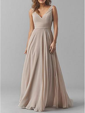 cheap Bridesmaid Dresses-A-Line V Neck Floor Length Chiffon Bridesmaid Dress with Tier