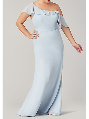 cheap Bridesmaid Dresses-Sheath / Column One Shoulder Floor Length Polyester Bridesmaid Dress with Ruffles
