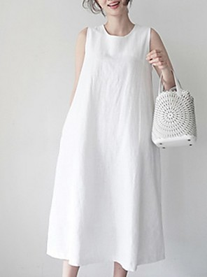 cheap Romantic Lace Dresses-Women's Loose Dress - Sleeveless Solid Color Loose White Yellow S M L XL