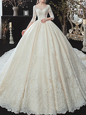 cheap Wedding Dresses-Ball Gown Jewel Neck Watteau Train Lace / Tulle / Lace Over Satin 3/4 Length Sleeve Formal Plus Size / Illusion Sleeve Wedding Dresses with Lace / Lace Insert 2020