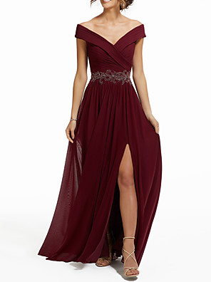cheap Evening Dresses-A-Line Empire Engagement Formal Evening Dress V Neck Sleeveless Floor Length Chiffon with Split Appliques 2020
