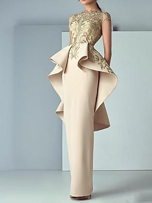 cheap Prom Dresses-Sheath / Column Luxurious Peplum Engagement Formal Evening Dress Jewel Neck Short Sleeve Floor Length Polyester with Ruffles Appliques 2020