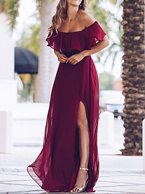 cheap Prom Dresses-A-Line Maternity Red Wedding Guest Prom Dress Off Shoulder Short Sleeve Floor Length Polyester with Ruffles Split 2020