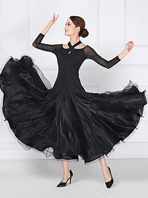 cheap Evening Dresses-Ballroom Dance Dress Split Joint Women's Training Performance Long Sleeve Mesh Lycra