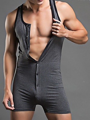 cheap Men's Exotic Underwear-Men's Normal Cotton Sexy Long Johns Solid Colored Mid Waist