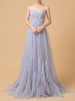 cheap Prom Dresses-A-Line Luxurious Purple Engagement Prom Dress Strapless Sleeveless Court Train Tulle with Beading Ruffles Appliques 2020