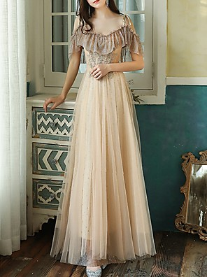 cheap Bridesmaid Dresses-A-Line Luxurious Gold Prom Formal Evening Dress Spaghetti Strap Half Sleeve Floor Length Tulle with Beading Appliques 2020