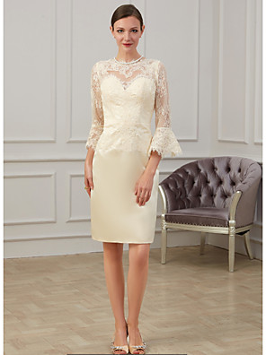 cheap Cocktail Dresses-Sheath / Column Mother of the Bride Dress Elegant Jewel Neck Knee Length Lace 3/4 Length Sleeve with Appliques Ruching 2020