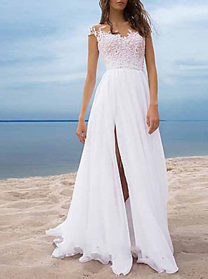 cheap Bridesmaid Dresses-Women's Maxi Sheath Dress - Short Sleeve Solid Colored Lace Patchwork Prom Slim White S M L XL