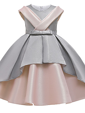 cheap Girls' Dresses-Kids Girls' Active Vintage Patchwork Solid Colored Bow Patchwork Sleeveless Asymmetrical Dress Dusty Rose