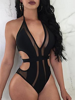 cheap Tankinis-Women's Black Purple One-piece Swimwear Swimsuit - Solid Colored S M L Black