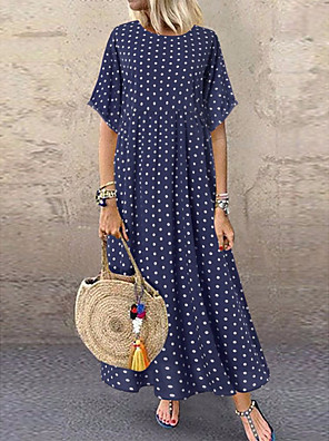cheap Evening Dresses-Women's Maxi Dress - Half Sleeve Polka Dot Print Summer Casual Holiday Vacation Loose 2020 Wine Blue Yellow Green L XL XXL XXXL XXXXL XXXXXL