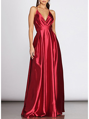 cheap Evening Dresses-A-Line Sexy Red Engagement Prom Dress V Neck Sleeveless Floor Length Charmeuse with Pleats 2020