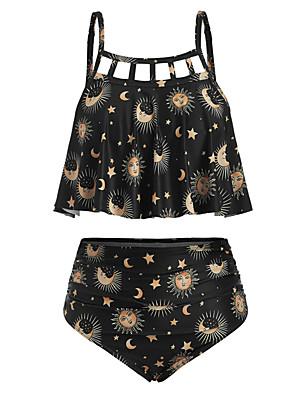 cheap Tankinis-Women's Basic Boho Black Cheeky Tankini Swimwear Swimsuit - Floral Backless M L XL Black