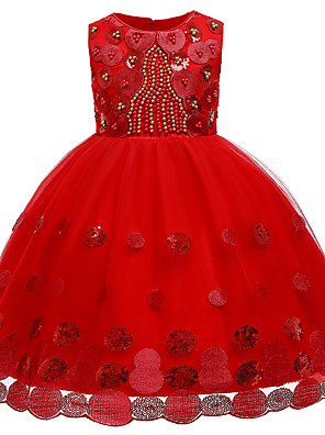 cheap Girls' Dresses-Kids Girls' Active Cute Solid Colored Lace Sequins Beaded Sleeveless Knee-length Dress Blushing Pink