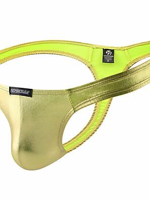 cheap Men's Exotic Underwear-Men's Basic G-string Underwear - Normal Low Waist Gold Silver M L XL