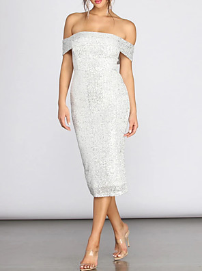 cheap Cocktail Dresses-Sheath / Column Sexy White Graduation Cocktail Party Dress Off Shoulder Sleeveless Tea Length Polyester with Sequin 2020