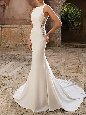 cheap Wedding Dresses-Mermaid / Trumpet Wedding Dresses Jewel Neck Floor Length Polyester Sleeveless Country Illusion Detail with Draping Appliques 2020