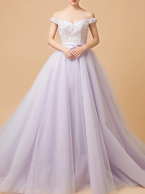 cheap Evening Dresses-Ball Gown Elegant Purple Quinceanera Formal Evening Dress Off Shoulder Sleeveless Chapel Train Tulle with Lace Insert Appliques 2020