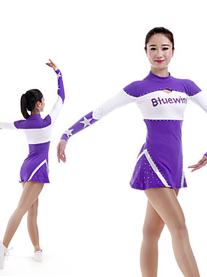 cheap Gymnastics-Cheerleader Costume Uniform Women's Girls' Kids Dress Spandex High Elasticity Handmade Long Sleeve Competition Dance Rhythmic Gymnastics Gymnastics Purple