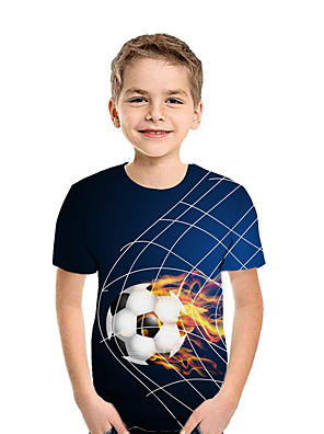 cheap Boys' Clothing-Kids Boys' Active Street chic Geometric 3D Patchwork Print Short Sleeve Tee Blue